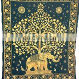 Hippie Hippy Elephant Printed Wall Hanging , Indian Tie dye Tree Tapestry Throw Bedspread , Dorm Tapestry , Decorative