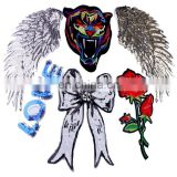 Big Size! Angel Wings Tiger Rose Flower Sequined Patches Embroidered Patch Sew On Women Motif Appliques