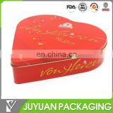 2016 high quality empty heart shaped food grade metal tin box can for chocolate packaging