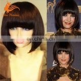 Braizlian Human Hair Short Bob Wigs For Black Women Glueless Lace Wig With Bangs The Full Lace Wig