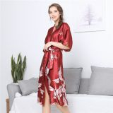 Satin Kimono Bathrobe Women Bride Bridesmaid Wedding Robe Dress Gown Sexy Flower Long Sleepwear