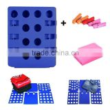 Blue Plastic Adjustable Clothes Folder with Clips and Dust-Proof Bag