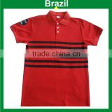 Men's Polo shirt in pique cotton with small yarn dyed stripes/Brazil brand polo wear /or print stripe