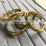 Fast delivery 2016 Fashion Jewelry Yellow Python Leather Bracelet With 316L Stainless Steel Clasp In Stock