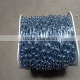 long link welded chain, blue/black plastic spools, zinc plated chain