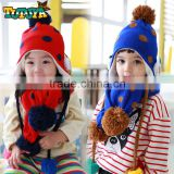 Two Piece Set Winter 2015 Newest Polka Dot Knitted Snowman Applique Pom Poms Boys Girls Baby Scarf and Beanie Hats