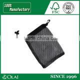 Logo lable black small mesh bag with drawstring,small nylon mesh drawstring bag