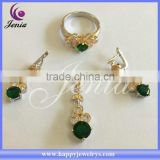 New products for 2015 high quality thai silver green zircon bridal wedding jewelry set (0761T17)