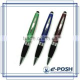 Aluminum metal cross refill touch screen stylus rubber gripper ball pen