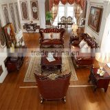 Premium Quality Brown Traditional European Wooden Sofa Set Designs