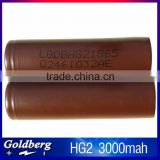 2016 Top selling 18650 rechargeable lithium battery 3.7V 3000mAh LG 18650 Batteries LG hg2 3000mAh li-polymer battery cell