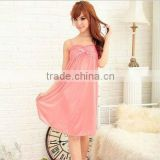 Ladies Home Furnishing service sexy suspender bow ice short-sleeved gown S09