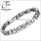 Cubic Zirconia Heart Shape Link Chain Bracelet, Stainless Steel Bio Magnetic Health Energy Bracelet