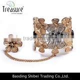 Luxury Fashion jewellry golden alloy flower rings and bangle fashion jewelry for wedding and party Indian jewelry