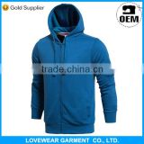 Custom designs high quality plain royal navi blue pullover zipper hoodie