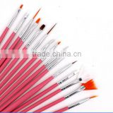 2015 Hot 15Pcs Cosmetic Nail Art Polish Painting Draw Pen Brush Tips Set