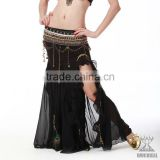 Qiancai Wucieal fashion sexy pleated belly dance skirt,belly dance clothing,black belly dance skirts (QC1192)