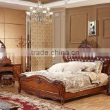 Yumian luxury royal European style oak solid wood bedroom furniture set Bed Bedside table Wardrobe Dressing table Commode