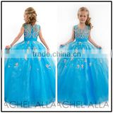 Blue O Neck Puffy Ball Gown Custom Made Vestidos Flower Little Girl for Wedding Party TF017 tulle flower girl dresses