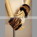 Fashion black and brown mink fur knitted gloves/lovely real fur mitts