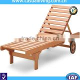 wooden outdoor furniture antique wood sleeping swimming pool lounge chair with wheels
