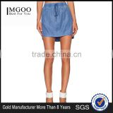 MGOO New Arrival Custom Made Denim Casual Mini Skirts For Women Blue Straight Tie Up Skirts 15144B543