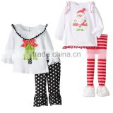 Lovely Santa Clothes Pom Pom with Ruffle Pants Winter Outfits Baby Girl Boutique Clothing Sets