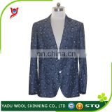 Mens custom suit / casual blazer / dark blue dobby party suit