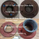 "1100 series Cast Iron Floor Drain Body with 2""- 6""No-Hub and Push On Outlet"