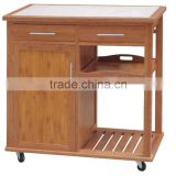 Bamboo Cabinet Kitchen Cart with tile top