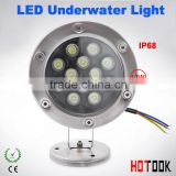 DHLshipping 12v waterproof IP68 12W LED underwater light,pool light,fountain light,garden light,outdoor waterproof light