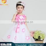 2016 New Style Summer Children Girl Clothes Wedding Bridal Dress Teen Girl Princess Dress Sleeveless Floral Petal Lace Dresses