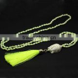 NE2309 Hot sale knotted buddha necklace with neon yellow tassel