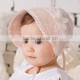 2016 new Summer Baby Girl Cap Sweet Lovely Cute Princess Hat New Fashion Children Kids Pink White baby Lace Floral Caps FH-184
