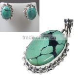 Tibet turquoise pendant and ear studs set blue stone jewelry for girls 925 silver jewelry