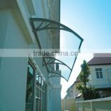 plastic polycarbonate large door canopy awning in black bracket for door and window rain cover