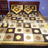 Silk Patchwork Bed-cover Silk Embroidered Bed-cover With 2 Pillow & 2 Cushions Covers