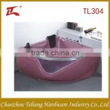 Crystal Pink Free Standing Triangle Two People Massage Arylic Bathroom Bathtub with Pillow