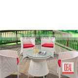 Elegant hotel wicker dining furniture sets outdoor chair and rattan round banquet tables wholesale