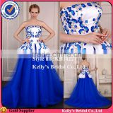 alibaba flowers pattern 2 layers satin and tulle embroidery royal blue and white traditional wedding dress evening dress