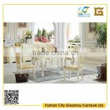 European style home furniture marble top wooden dining table with white wood carved leather chair
