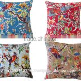 Indian Bird printed kantha cushion cover wholesale lot pillow cover kantha cushion cover
