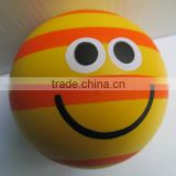 PU Foam colorful smiling ball squeeze ball,customized logo colorful smooth ball anti stress ball