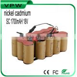 rechargeable nickel cadmium battery pack SC 1700mah 18v for power tool