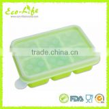 BPA free 6 Cavity Baby Food Storage Container, Silicone Ice Cube Tray With Lid, Baby Food Freezer