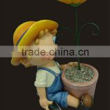 2014 new design cute cartoon boy sitting with flower pot outdoor balcony pot garden decoration