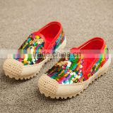 2016 new summer baby shoe fashion baby casual shoe colorful baby sequin canvas shoe