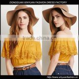 ladies casual tops off shoulder latest design pretty women clothing wholesale