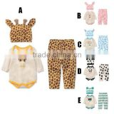 5 colors 3pcs pajamas cute cartoon style baby suits