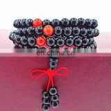 New Natural Black Agate Stone Beads Bracelets with Crystal Ball Elastic Rope Chain lover Bangles black tourmaline agate